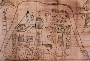 Detail from the Greenfield Papyrus (the Book of the Dead of Nesitanebtashru). It depicts the air god Shu, assisted by the ram-headed Heh deities, supporting the sky goddess Nut as the earth god Geb reclines beneath.